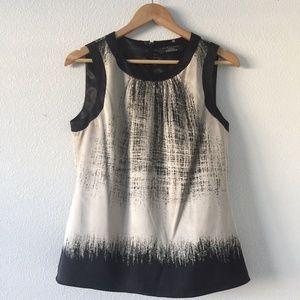 ELIE TAHARI Black Gray 95% Silk Sleeveless Blouse